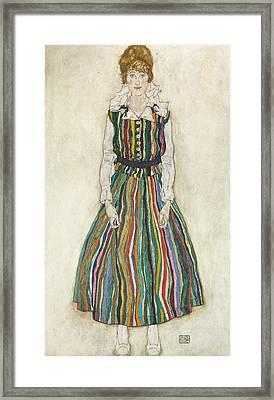 Portrait Of Edith Framed Print by Egon Schiele