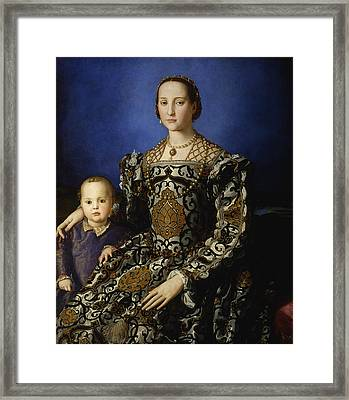 Portrait Of Eleanor Of Toledo With Her Son Giovanni De' Medici  Framed Print by Agnolo Bronzino