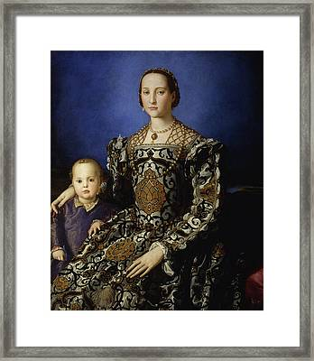 Portrait Of Eleanor Of Toledo With Her Son Giovanni De' Medici Framed Print by Bronzino