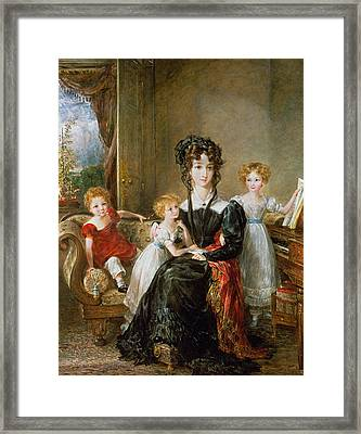 Portrait Of Elizabeth Lea And Her Children Framed Print by John Constable