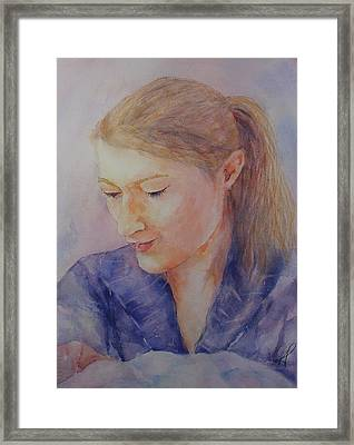 Framed Print featuring the painting Portrait Of Emily by Kim Fournier