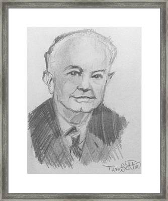 Portrait Of Ernest Holmes Framed Print by Tim Botta