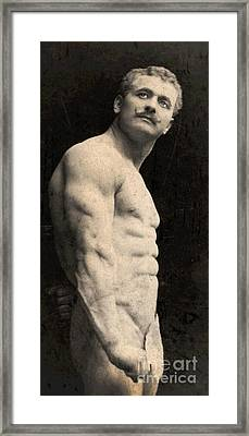 Portrait Of Eugen Sandow Framed Print by English School