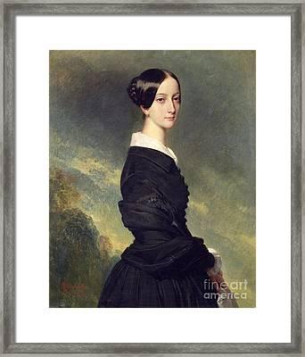 Portrait Of Francisca Caroline De Braganca Framed Print by Franz Xaver Winterhalter