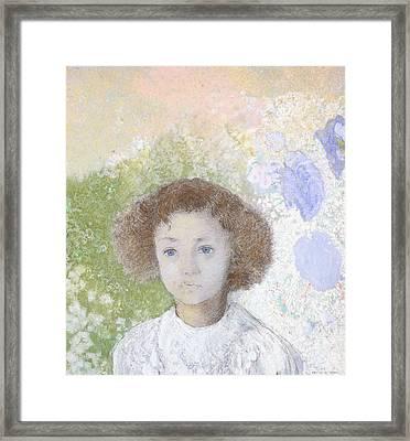 Portrait Of Genevieve De Gonet As A Child Framed Print by Odilon Redon
