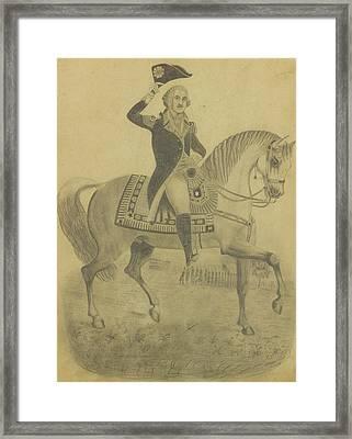 Portrait Of George Washington On Horseback Framed Print