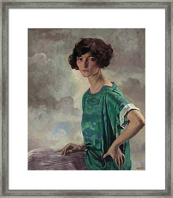 Portrait Of Gertrude Sanford Framed Print by William Orpen
