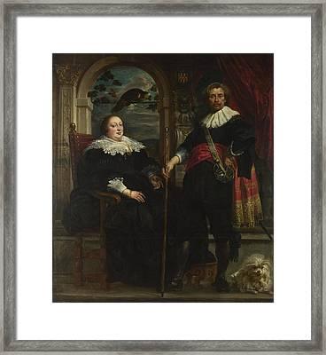 Portrait Of Govaert Van Surpele And His Wife Framed Print by Jacob Jordaens