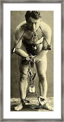 Portrait Of Harry Houdini In Chains, 1900 Framed Print