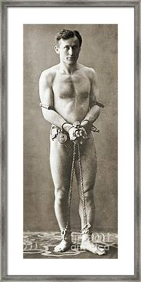 Portrait Of Harry Houdini In Chains, Circa 1900 Framed Print