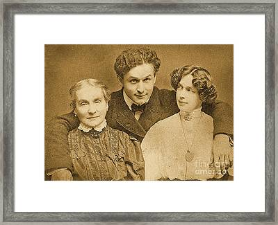 Portrait Of Harry Houdini With Is Mother And Wife Framed Print