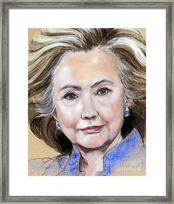 Pastel Portrait Of Hillary Clinton Framed Print by Greta Corens