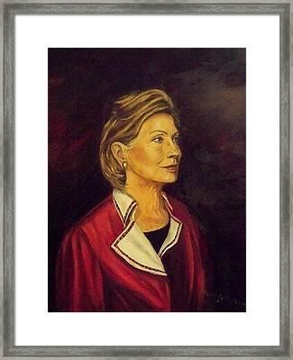 Portrait Of Hillary Clinton Framed Print by Ricardo Santos-alfonso