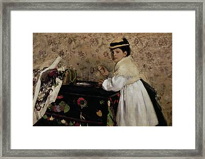 Portrait Of Hortense Valpincon As A Child Framed Print by Edgar Degas