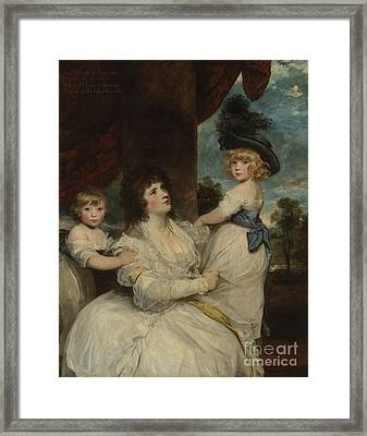 Portrait Of Jane, Countess Of Harrington, With Her Sons, The Viscount Petersham And The Honorable Li Framed Print by Joshua Reynolds