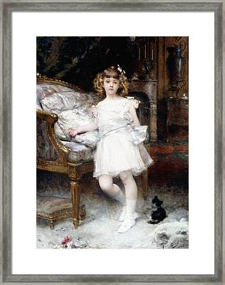 Portrait Of Janine Potin With A Kitten Framed Print by Aime Nicolas Morot