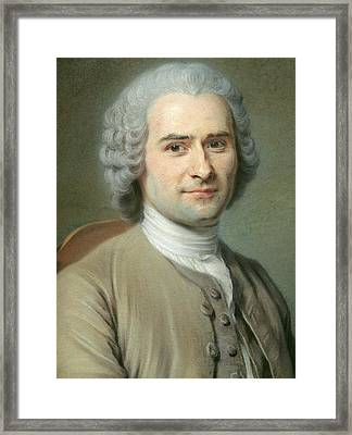 Portrait Of Jean Jacques Rousseau Framed Print by Maurice Quentin de la Tour