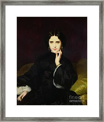 Portrait Of Jeanne De Tourbay Framed Print by Eugene Emmanuel Amaury-Duval