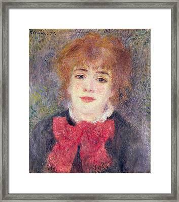 Portrait Of Jeanne Samary Framed Print by Renoir