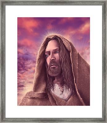 Portrait Of Jesus Framed Print by Bekim Art