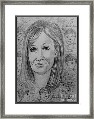 Portrait Of J K Rowling 3 Framed Print by Joan-Violet Stretch