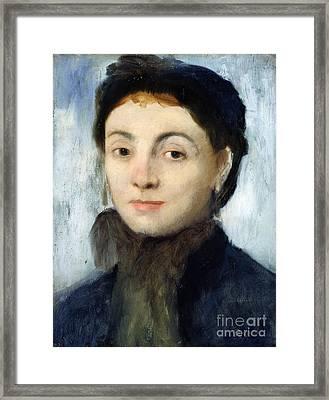 Portrait Of Josephine Gaujelin Framed Print by Edgar Degas