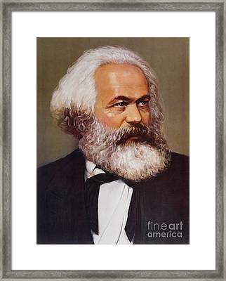 Portrait Of Karl Marx Framed Print by Unknown