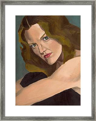 Framed Print featuring the painting Portrait Of Kathy Arvidson by Stephen Panoushek