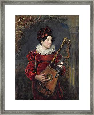Portrait Of Kitty Stephens Later Countess Of Essex  Framed Print by George Henry Harlow