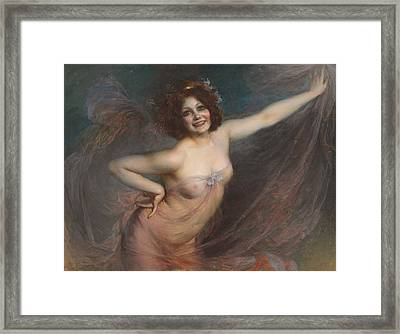 Portrait Of Loie Fuller Framed Print by Felix Hippolyte-Lucas