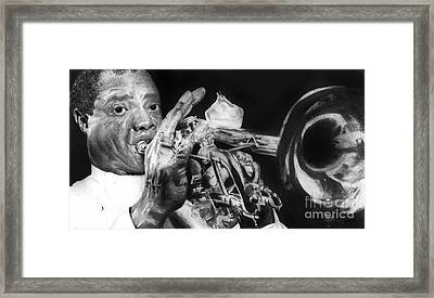 Portrait Of Louie Armstrong Framed Print by Carrie Jackson