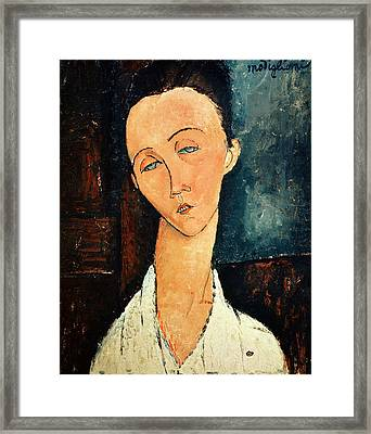 Portrait Of Lunia Czechowska Framed Print by Amedeo Modigliani