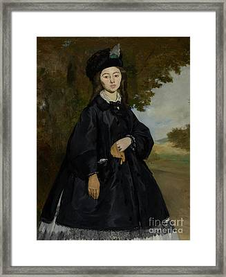 Portrait Of Madame Brunet By Edouard Manet  Framed Print by Esoterica Art Agency