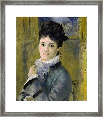 Portrait Of Madame Claude Monet Framed Print by Renoir