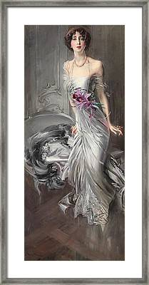 Portrait Of Madame Eugene Doyen Framed Print by Giovanni Boldini