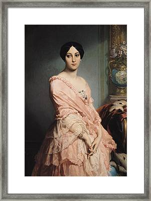 Portrait Of Madame F Framed Print by Edouard Louis Dubufe