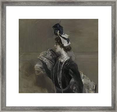 Portrait Of Mademoiselle Lina Cavalieri Framed Print by Giovanni Boldini