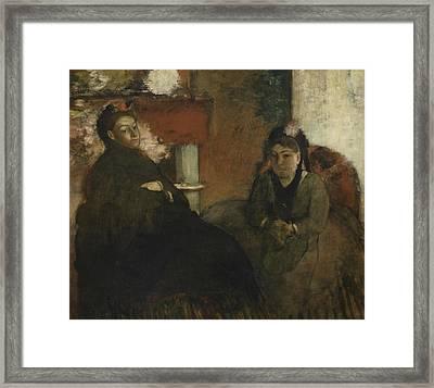 Portrait Of Mademoiselle Lisle And Mademoiselle Loubens Framed Print by Edgar Degas