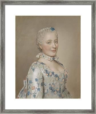 Portrait Of Marie Josephe Of Saxony 1731-67, Dauphine Of France, Jean-etienne Liotard, 1749 Framed Print