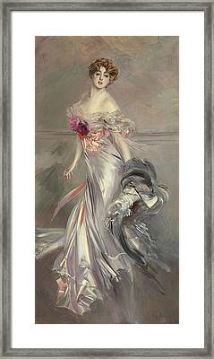 Portrait Of Marthe Regnier Framed Print by Giovanni Boldini