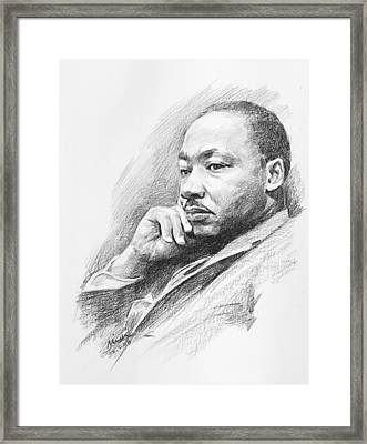 Portrait Of Martin Luther King Jr. Framed Print by Mei  He