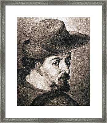 Portrait Of Miguel Saavedra De Framed Print by Vintage Design Pics