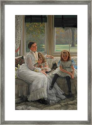 Portrait Of Mrs Catherine Smith Gill And Two Of Her Children Framed Print by James Tissot