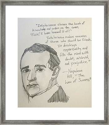 Portrait Of Napoleon Hill With Quotation Framed Print by Tim Botta