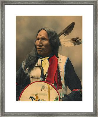 Portrait Of Oglala Sioux Chief Strikes With Nose Framed Print