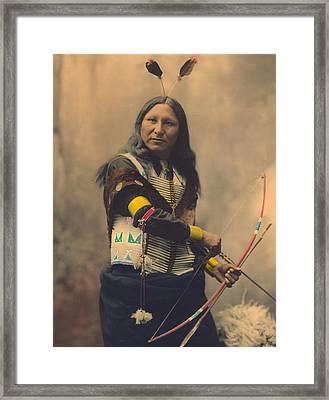 Portrait Of Oglala Sioux Shout Framed Print