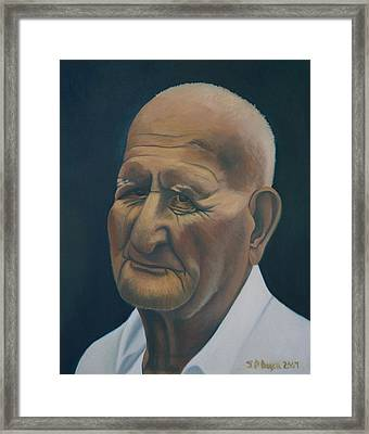 Portrait Of Old Man In St. Louis Framed Print by Stephen Degan