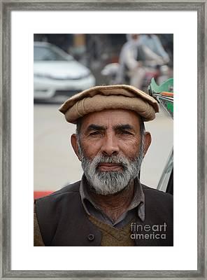 Portrait Of Pathan Tuk Tuk Rickshaw Driver Peshawar Pakistan Framed Print by Imran Ahmed