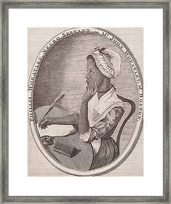 Portrait Of Phillis Wheatley Framed Print by American School