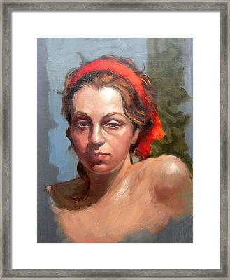 Portrait Of Phoebe Framed Print by Roz McQuillan
